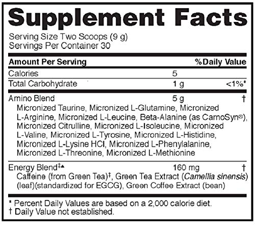 Optimum Nutrition Amino Energy - Pre Workout with Green Tea, BCAA, Amino Acids, Keto Friendly, Green Coffee Extract, Energy Powder - Orange Cooler, 30 Servings