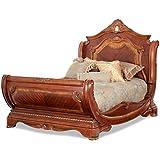 AICO Cortina California King Sleigh Bed in Honey Walnut