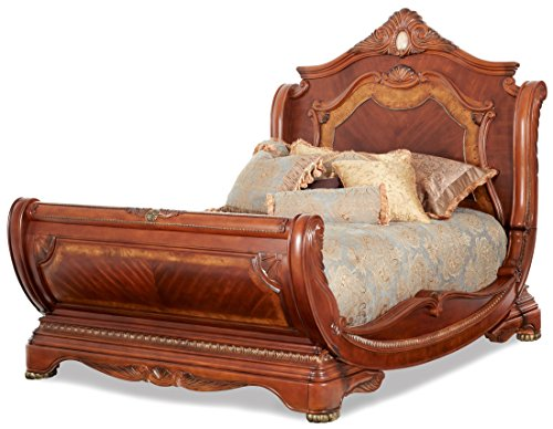 nia King Sleigh Bed in Honey Walnut ()