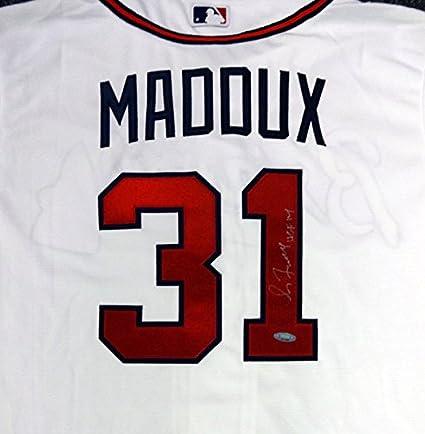 timeless design dd8c0 af37a Greg Maddux Autographed Majestic Cool Base Atlanta Braves ...