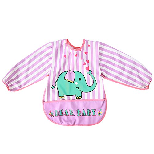 Baby Long Sleeve Art Smock Bib Waterproof Apron (Elephant) (Pink) - 3