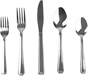 Home Basics, E Empire 20 Piece Stainless Steel Silverware Flatware Cutlery Dinner Set, Elegant Mirrored Finish Utensils Service for 4 Includes Knife/Fork, Silver