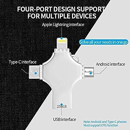 256GB Kaulery Memoria USB 256GB Pendrive para iPhone Android iPad MacBook Computadoras Laptops Type C Dispositivos 4 in 1 Flash Drive USB 3.0