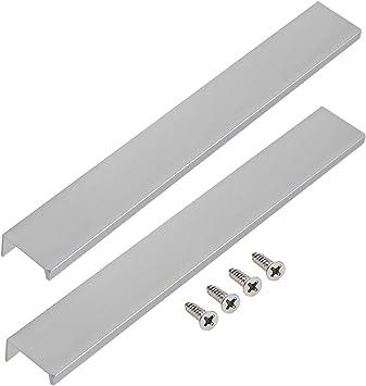 Lictop 250mm 9 8 Cabinet Hardware Concealed Hidden Finger Pull Handles Kitchen Door Pulls Aluminium Silver Stain Nickel With Screws 2pcs Amazon Com