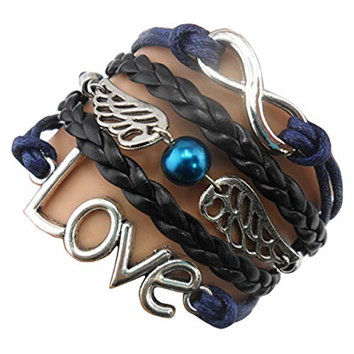 Ac Union Love Angel Wings Pearl Charm Friendship Gift Handmade Leather Bracelet - Black