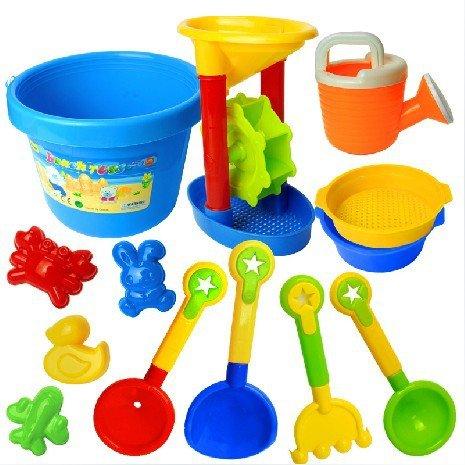 EQLEF® Summer Fun 13 Stück für Kinder Kinderspielzeug Strand / Sandkasten Werkzeug Spielset, Kommt mit Eimer, Handwerkzeuge, Sandformen,Farbe Random
