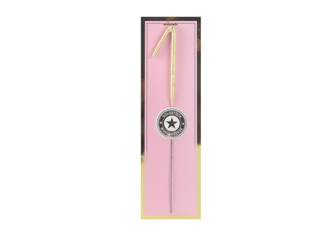 Hotex Wunderkerze Zahl 1' - 20, 0 x 6, 0 cm Gold - ALS Partyzubehö r oder Geschenk