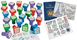 Set of 24 - Passport Stampers and 12 sticker books