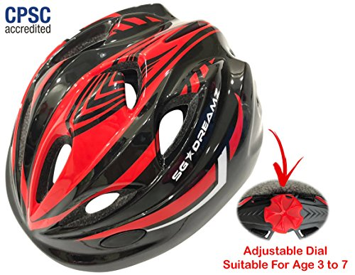 Kids Bike Helmet For Bicycle Cycling, Skateboard, Scooter – Adjustable Harness From Age 3 To 7 For Head Size 19.6-22 inch – Durable Toddler Kid Bicycle Helmets Boys and Girls Will Love (Black Red)