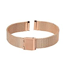 Xuexy 14mm Pebble Time Round Stainless Steel Watch Band Milanese Wire Mesh Strap Replacement Bracelet, Rose Gold