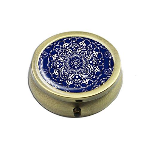 Pill Box - Cheliz Compact 3 Compartment Medicine Case, Pill Box for Pocket or Purse(Blue White Flower)