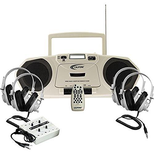 Califone 2385plc Music Maker Plus Centro de escucha con grabador de cassette, 4auriculares estéreo, 10-position Jack Box