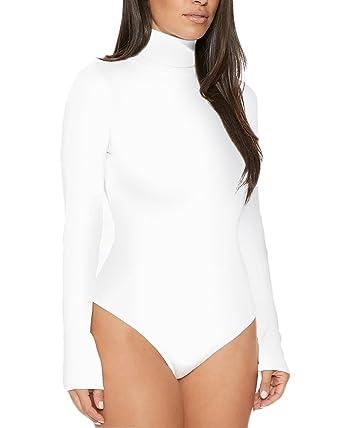 Femme Body Manches Longues A Col Roulé Body Danse Body Stretch Partie Justaucorps  Haut Blanc S 9b570693a29