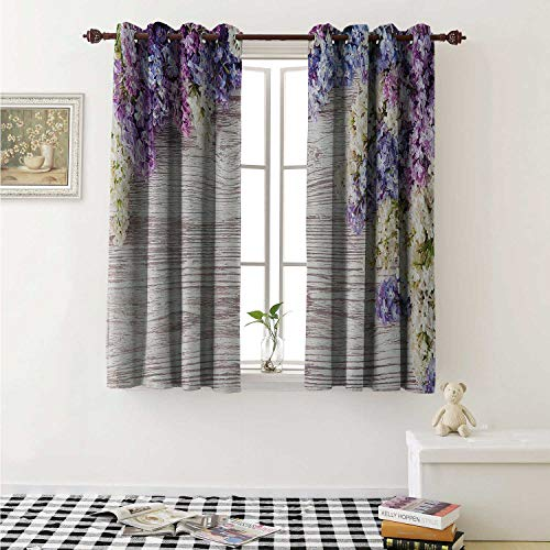 Rustic Waterproof Window Curtain Lilac Flowers Bouquet on Wood Table Spring Nature Romance Love Theme Curtains Living Room W55 x L45 Inch Lilac Violet Dark Taupe