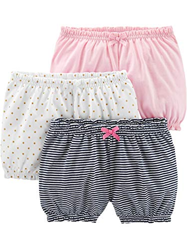 Simple Joys by Carter's Girls' 3-Pack Bloomer Short, White/Dot/Pink, 3-6 Months