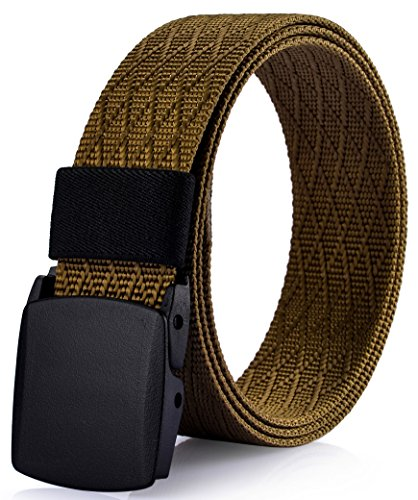 Ayli Men's Nylon Military Tactical Web Belt, Plastic Buckle, with Key Chain, Raw Umber - bt6a009yl Bronze Umber