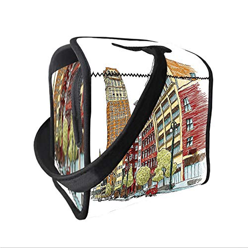 (Neoprene Lunch Tote Bag with Shoulder Strap,Detroit Decor,Buildings on Woodward Avenue in Downtown Detroit Artistic Sketchy Urban Scene Decorative,Multicolor,for boys girls and adults)