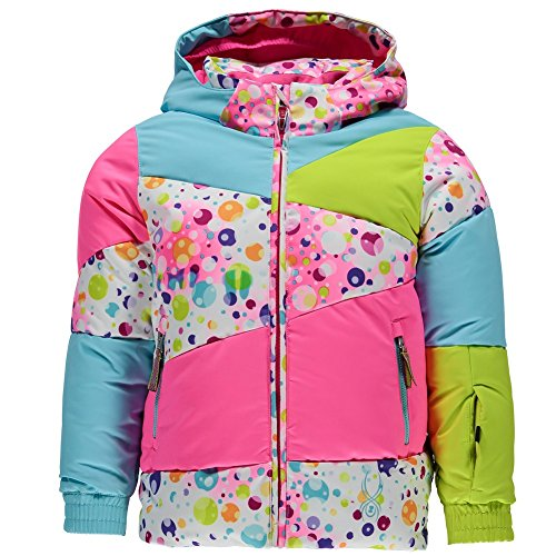 Spyder Girls Bitsy Duffy Puff Jacket, Size 7, Party Multi Print/Bryte Bubblegum/Freeze