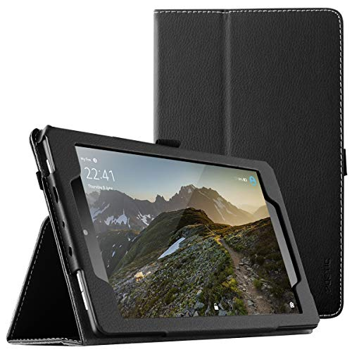 Poetic SlimFolio case for All-New Amazon Fire HD 8 Tablet (7th and 8th Generation, 2017 and 2018 Release) - Slim Leather Stand Folio Smart Cover Case with Auto Wake/Sleep - Black