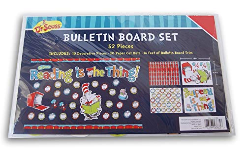Hat Bulletin Board - Dr. Seuss Cat in The Hat Reading Go Bulletin Board Decor Set - 52 Pieces