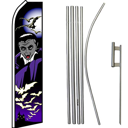 ALBATROS Halloween Vampire Black Purple Swooper Flag with