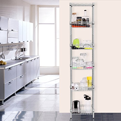 LANGRIA 6-Tier Bathroom Shelving Supreme Shelving Units, Storage Rack Corner Shelf Organization Utility Rack for Home Kitchen Living Room Bedroom Laundry Office, 198 lbs Capacity, Silver