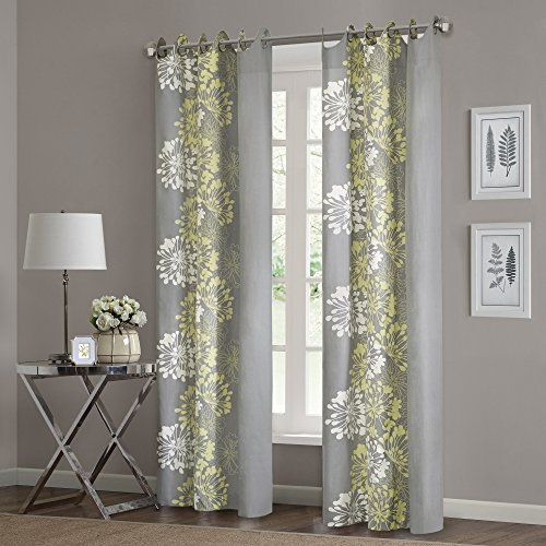 - Grey Curtains for Living Room, Modern Contemporary Yellow Window Curtains for Bedroom, Anaya Floral Fabric Grommett Window Curtains, 50X63, 1-Panel Pack