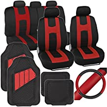 PolyCloth Sport Seat Covers Rubber Floor Mats & Steering Wheel Cover for Auto Car SUV Truck - Two Tone Black & Red