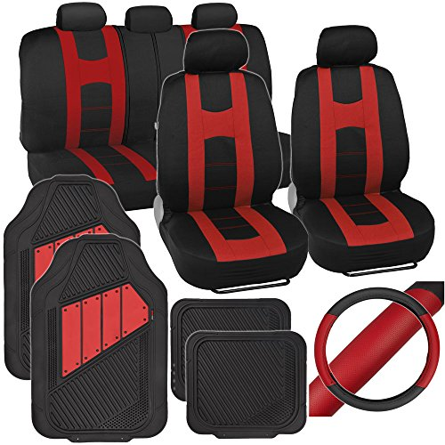 (PolyCloth Sport Seat Covers Rubber Floor Mats & Steering Wheel Cover for Auto Car SUV Truck - Two Tone Black & Red)