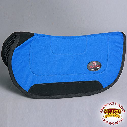 HILASON 28X26 BLUE CONTOURED BARREL RACER HORSE ANTI SLIP SADDLE PAD MADE IN ()