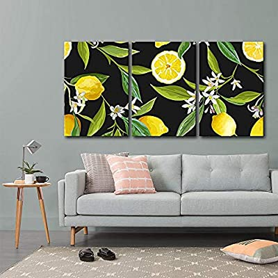 3 Piece Canvas Wall Art - Vector - Seamless Pattern. Lemon Fruits Background. Floral Pattern - Modern Home Art Stretched and Framed Ready to Hang - 16