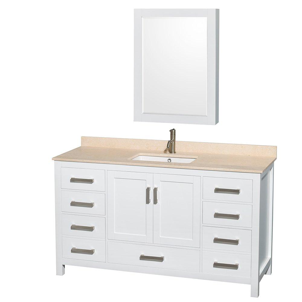 Wyndham Collection Sheffield 60 Inch Single Bathroom Vanity In White, No  Countertop, No Sink, And No Mirror     Amazon.com