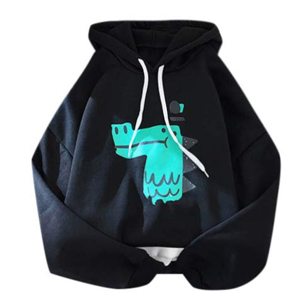 TUU Women's Tops Winter Casual Long Sleeve Hooded Character Pullover Sweatshirt Tops Black by TUU-Fashion Shirt