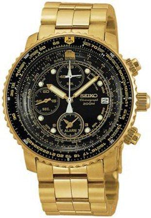 Flight Chronograph Black Dial (Seiko Men's SNA414 Flight Alarm Chronograph Watch)