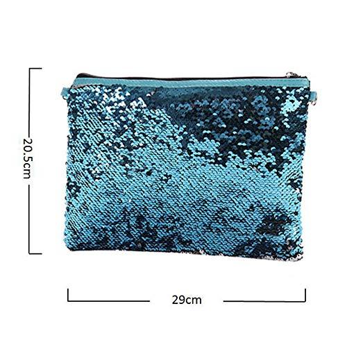 Cartable Universel Mode Bandoulière Bz904 Messenger À Main amp;blue Grand Femmes Durable Silver tout Dames Sac Paillettes Fourre wz4zPq
