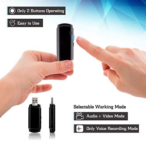 25 Hours Rechargeable Battery Audio-Video 1.5mm Lens Smart Mini Voice Recorder