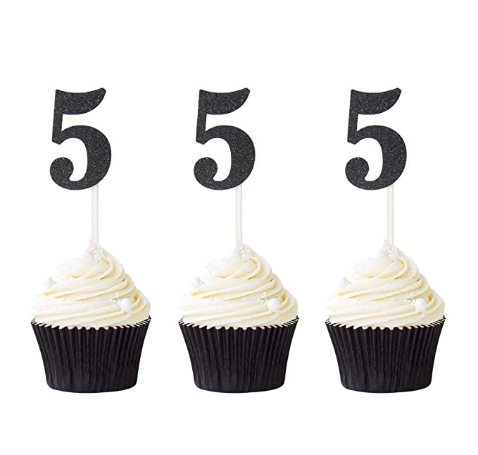 Glitter  Party Decorations 5th Birthday D\u00e9cor ........... choose from 17 colors 2 inches tall ANY NUMBER 5th Birthday Cupcake toppers