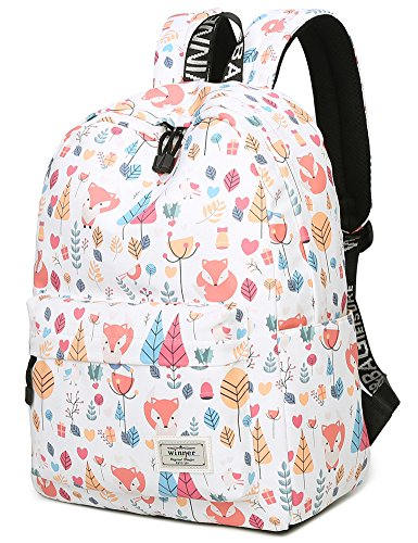 School Bookbag for Girls, Cute Fox Water Resistant Laptop Backpack College Bags Women Travel Daypack