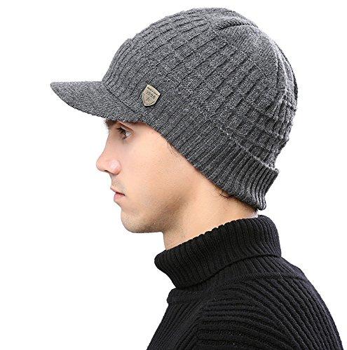 Acrylic Jeep Hat (Mens Visor Beanie Winter Knit Beanie Hat Brim Fleece Lined newsboy Skull Ski Cap Jeep Cap)