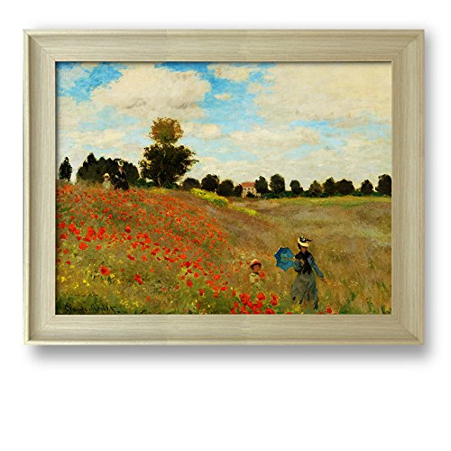 Framed Art The Poppy Field near Argenteuil 1873 by Claude Monet Famous Painting Wall Decor Natural Wood Finish Frame
