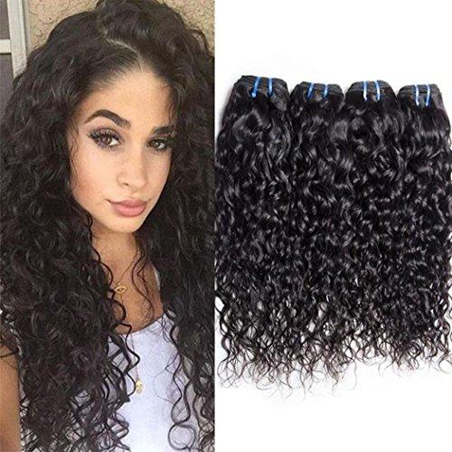 Maxine Brazilian Virgin Water Hair Extensions 4 Bundles, 100% Pure Real Brazilian Human Hair Weave, 9A Grade, Natural Black Color, Full Head 16 18 20 22inches