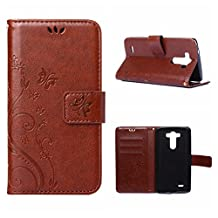 MOONCASE LG G3 Wallet Case Flower Pattern Premium PU Leather Case for LG G3 Bookstyle Soft TPU [Shock Absorbent] Flip Bracket Cover Red