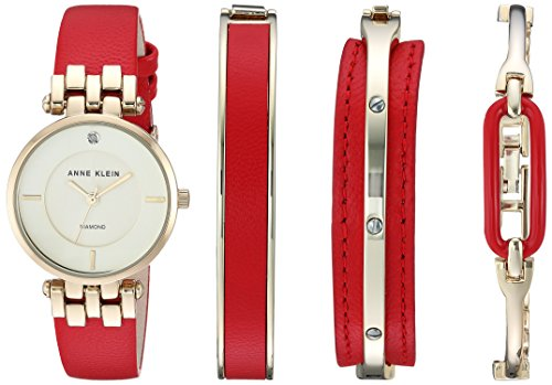 Anne Klein Women's AK/2684RDST Diamond-Accented Gold-Tone and Red Leather Strap Watch and Bracelet Set Chloe Calfskin Leather