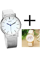 Shensee Retro Female Elephant Printing Pattern Weaved Leather Quartz Dial Watch