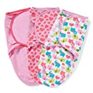 Summer Infant SwaddleMe Adjustable Infant Wrap, Elephant Heart/Pink Heart, Girl, Small/Medium