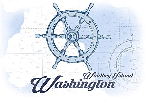 Whidbey Island, Washington - Ship Wheel - Blue - Coastal Icon Collectible Art Print,