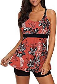 Century Star Womens Athletic Swimsuits for Women Two Piece Tankini with High Waisted Boyshorts Floral Printed