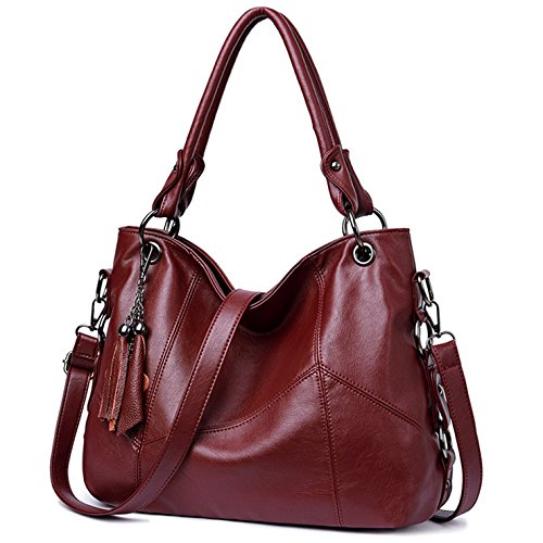 Lustear Soft Leather Handbag Hobo Style Purse Tote Shoulder Bag with Tassel For Women (Wine Red)