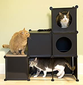 Purrfect Feline - Custom Cat Kitty Ferret Condo, Modular DIY Furniture, Tower Tree Hideout House (Cat Maze, Black) - Includes FREE Scratcher Board