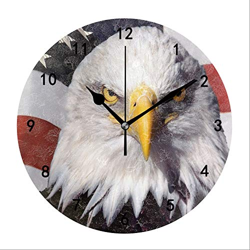 Miaoquhe Eagle American Flag Wall Clock, 9.5-Inch Silent Battery Operated Round for Office Bedroom Living Room Kitchen Indoor Decorative